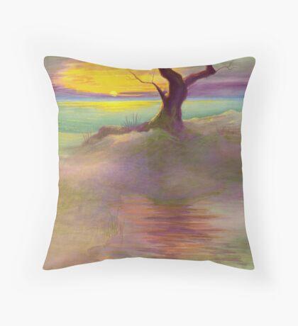 Lone Beach Tree Throw Pillow