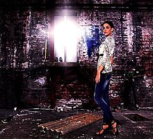 Fashion Model in Jeans Fine Art Print by stockfineart