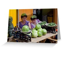 Cabbage Heads, Chortkiw Market, Ukraine Greeting Card