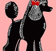 Black Standard Poodle with a Red Bow by AbigailDavidson