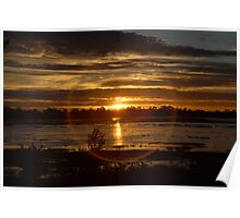 Sunset over Lake Wendouree in Drought Poster