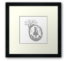 Alice in Wonderland Woodcut in Text Framed Print