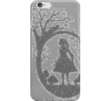 Alice in Wonderland Woodcut in Text on Grey iPhone Case/Skin