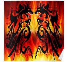 DRAGONS FIGHTING Poster