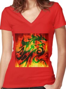 DRAGON IN FLAME Women's Fitted V-Neck T-Shirt