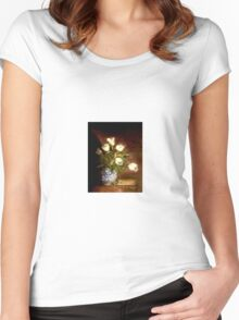 White Tulips In A Chinese Vase Women's Fitted Scoop T-Shirt