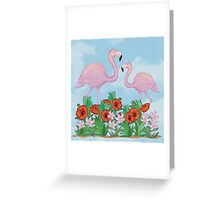 Flamingos and Flowers Greeting Card