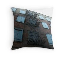 Rusted fire escapes on an old building...... Throw Pillow