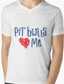 Pit Bulls Love Me (Light Colors) Mens V-Neck T-Shirt