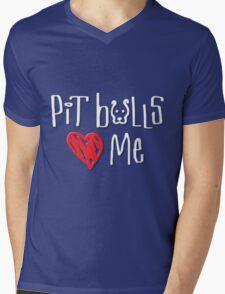Pit Bulls Love Me (Dark Colors) Mens V-Neck T-Shirt
