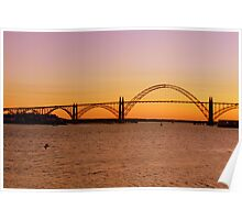 Sun Setting Behind Yaquina Bay Bridge Poster
