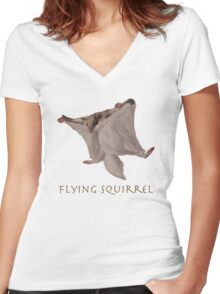Flying Squirrel Women's Fitted V-Neck T-Shirt