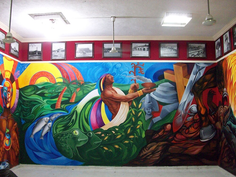 """MURAL """"TEMPOAL HISTORY AND TRADITION"""" by Ehivar Flores Herrera"""