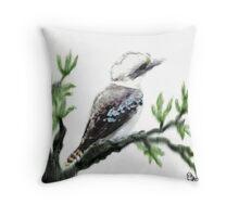 Kookaburra oriental style watercolour.. Throw Pillow