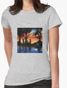 Rotating ART! two pics in one! fishing and gathering/Dali Womens Fitted T-Shirt