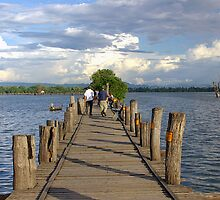 Teak footbridge, Mandalay, Burma by John Mitchell