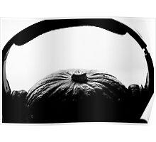 Pumkin with headphones on Poster