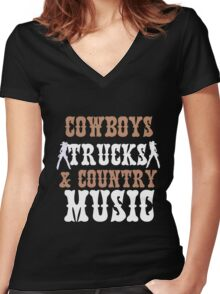 COWBOYS TRUCKS COUNTY MUSIC Women's Fitted V-Neck T-Shirt