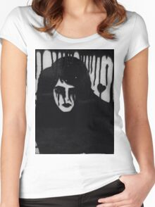 Ink on glass Depressed woman  Women's Fitted Scoop T-Shirt
