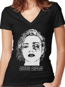 Crystal Castles (Black) Women's Fitted V-Neck T-Shirt