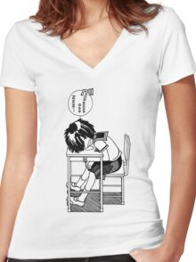Nazo no Kanojo X (Mysterious Girlfriend X) Sleeping Urabe Women's Fitted V-Neck T-Shirt