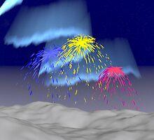 Fireworks under the Aurora Borealis by queensoft
