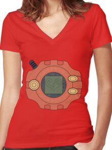 Digimon digivice Love Women's Fitted V-Neck T-Shirt