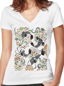 Jewelry Koi Women's Fitted V-Neck T-Shirt