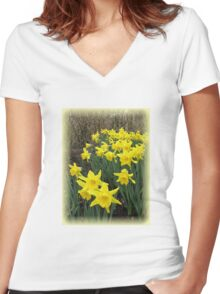 Easter Daffodils Vignette Women's Fitted V-Neck T-Shirt