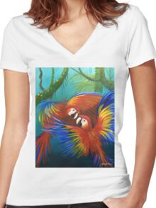 """""""Scarlet Macaw's"""" Parrotopia series 1 Women's Fitted V-Neck T-Shirt"""