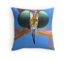 Robberfly's Face Throw Pillow