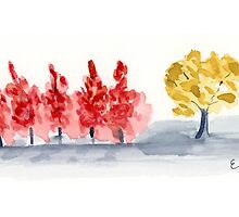 Row of fall trees - Watercolor Painting  by Eugenia Alvarez