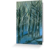 Blue forest - Pastel painting  Greeting Card