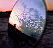 Motorcycle Mirror Sunset by Jay Gross