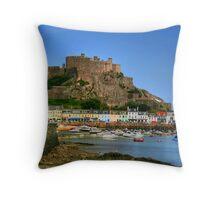 """""""Mount Orgueil Castle, Gorey Harbour"""" Throw Pillow"""