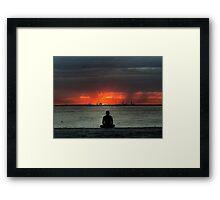 Yoga at sunset - HDR Framed Print