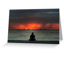 Yoga at sunset - HDR Greeting Card