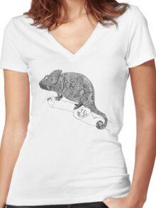 Karma Chameleon Zentangle Women's Fitted V-Neck T-Shirt