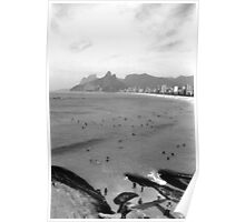 Ipanema Beach and Two Brothers Hills Poster