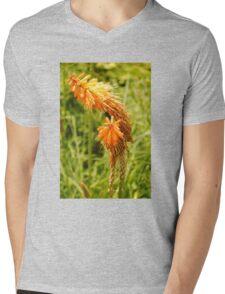 Orange Flower Mens V-Neck T-Shirt
