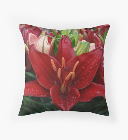 Red Dew Drops Throw Pillow