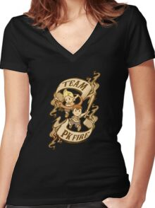 Team PK Fire Women's Fitted V-Neck T-Shirt