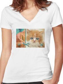 Raindrops on Roses and Whiskers on Kittens Women's Fitted V-Neck T-Shirt