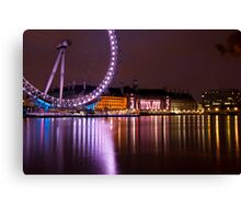 Big Wheels Keep on Turning: The London Eye at Night Canvas Print