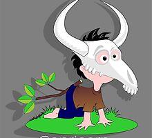 Drawing child funny Capricorn goat skull by Desenatorul1976