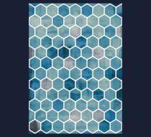 Blue Ink - Watercolor hexagon pattern Kids Clothes