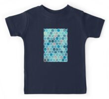 Blue Ink - Watercolor hexagon pattern Kids Tee