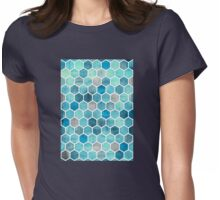 Blue Ink - Watercolor hexagon pattern Womens Fitted T-Shirt