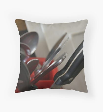 Saturday Dishes Series - Cutlery Throw Pillow