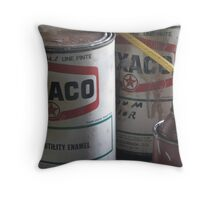 Oil cans and memories Throw Pillow